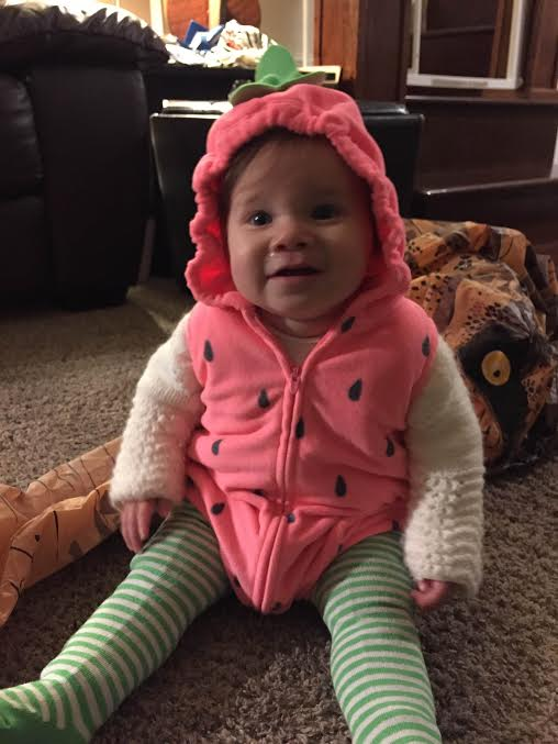 Happy Halloween from Adoptive Parents Lisa, Bill & Family. Celebrating Mila's 1st Halloween! What a cute little Strawberry.
