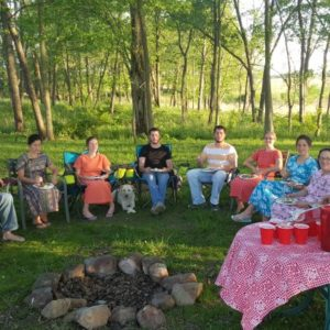 cookout in the woods with family