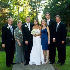 family saras family on wedding day