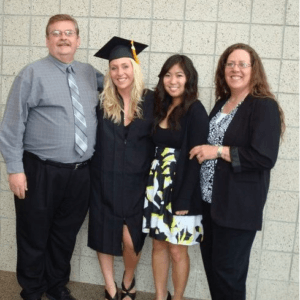 parents and sister at my graduation